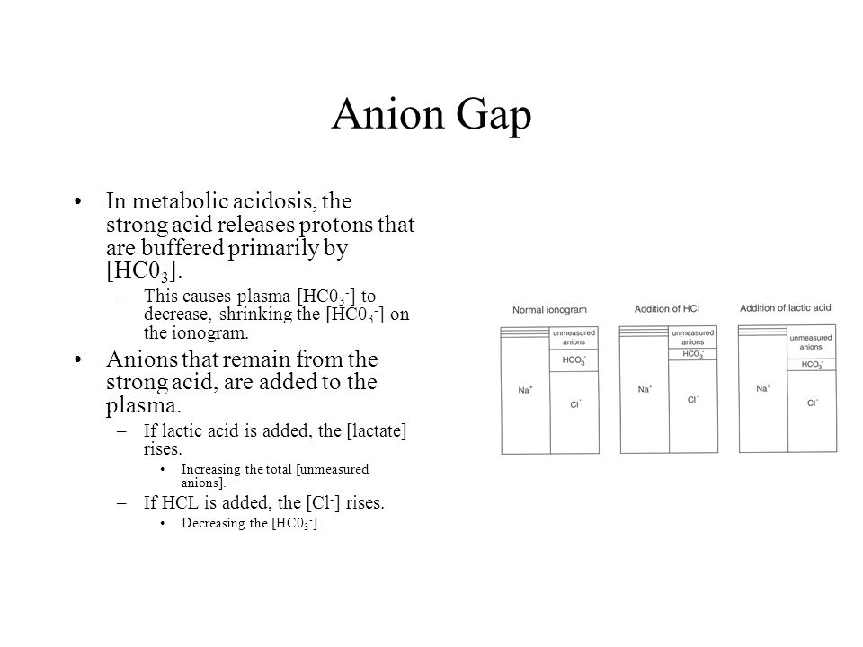 Anion Gap In metabolic acidosis, the strong acid releases protons that are buffered primarily by [HC03].